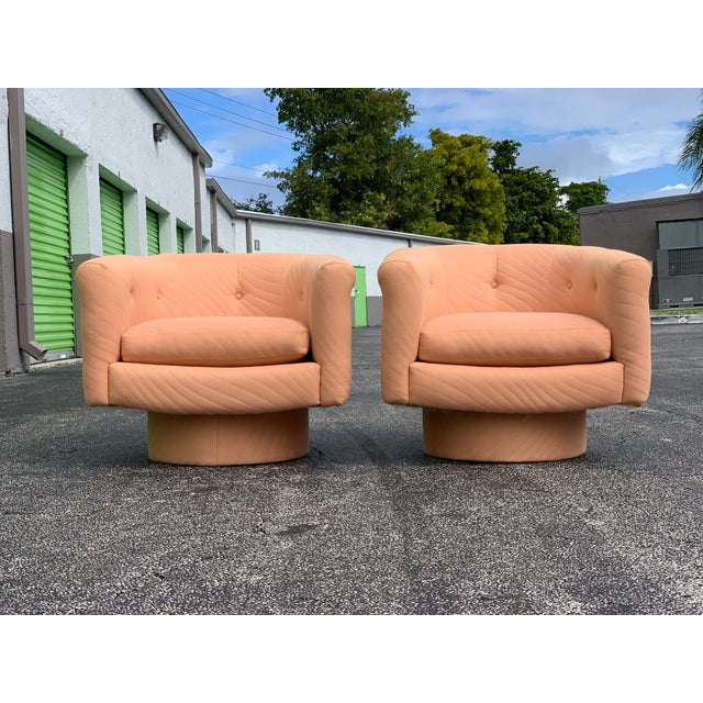 1970s Milo Baughman Style Tufted Swivel Lounge Chairs - a Pair For Sale - Image 13 of 13