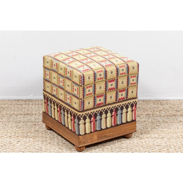 Vintage Needlepoint Foot Stool For Sale - Image 4 of 8
