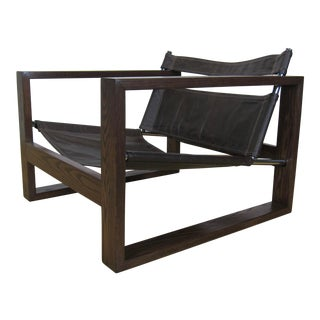 1970s Vintage Stained Oak + Vinyl and Chrome Safari Style Lounge Chair For Sale