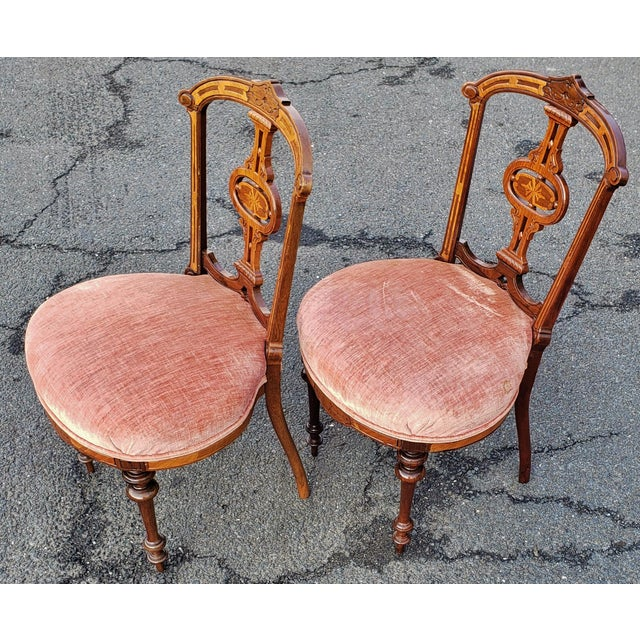 American 19th Century American Upholstered Renaissance Revival Walnut Chairs-a Pair For Sale - Image 3 of 10