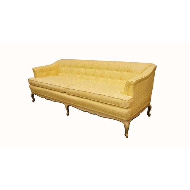Louis XV Style Tufted Sofa in Yellow - Image 3 of 8