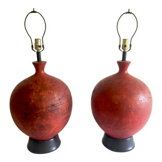 1960s Organic Modern Round Brick Red Stoneware Lamps - a Pair For Sale
