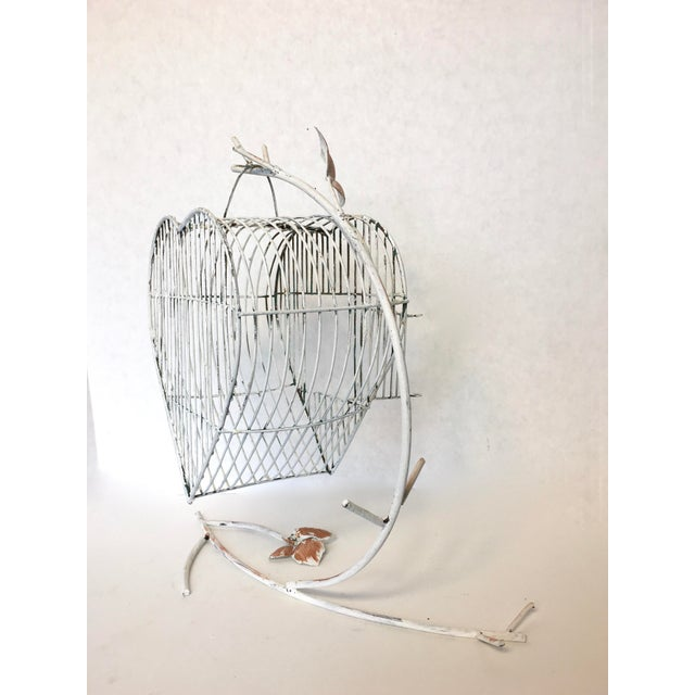 Vintage Heart Shaped Bird Cage on a Stand - Image 3 of 4