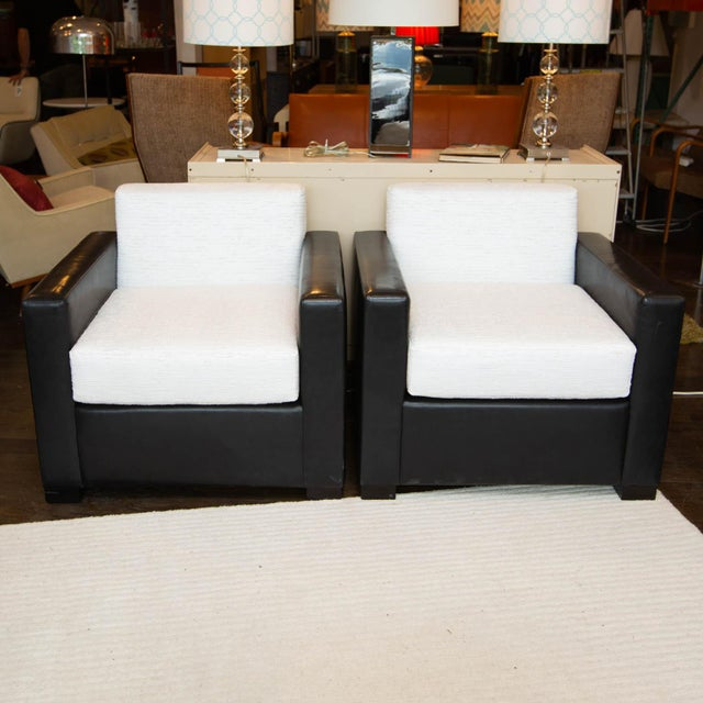Leather Custom Pair of Leather and Raw Silk Tuxedo Club Chairs For Sale - Image 7 of 7