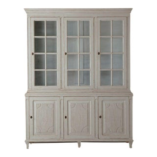 19th Century Swedish Gustavian Three-Door Glass Vitrine Bookcase Cabinet