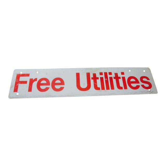 Utilities Included Metal Industrial Salvage Sign - Image 1 of 3