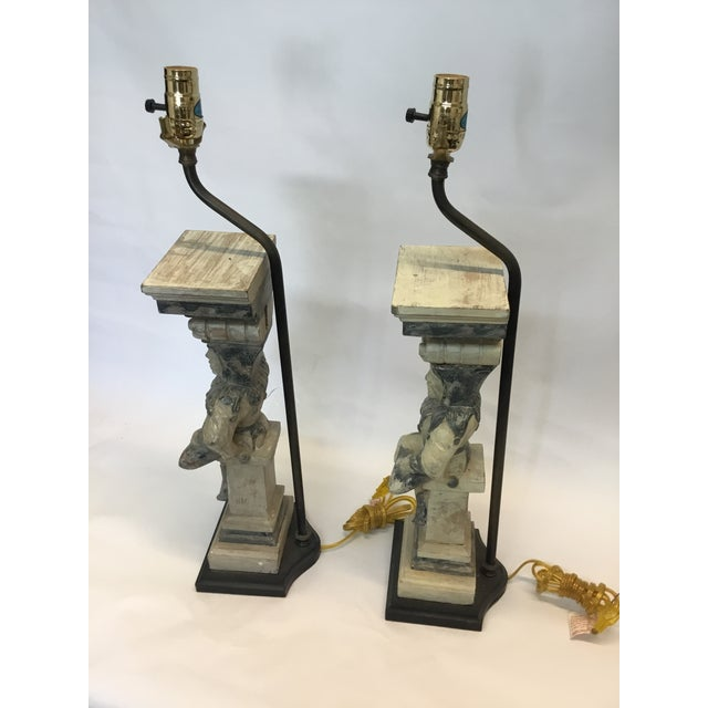 Modern Hand Carved Wooden Court Jesters Lamps - A Pair For Sale - Image 3 of 3