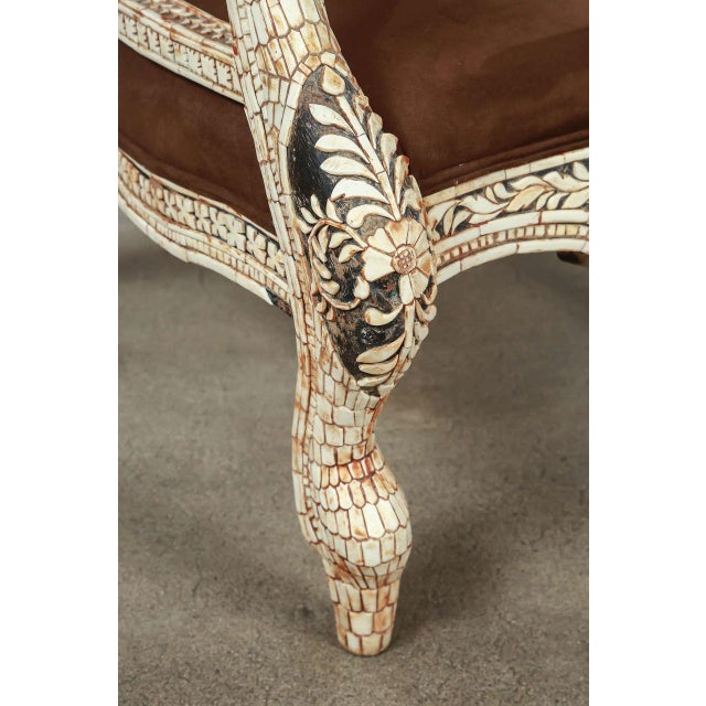 Amazing Anglo-Indian bone inlaid armchair featuring a shaped back and cabriole leg. Heavily inlaid with carved Horn,...