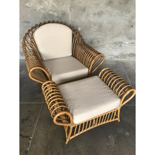 1980s Vintage Rattan Lounge Chair & Ottoman Preview