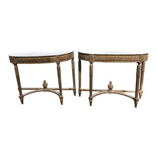 Vintage French Wood-Top Console - a Pair
