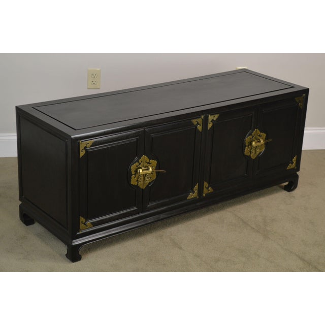 High Quality Vintage Black Painted Console with Brass Hardware