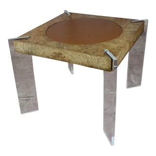 Milo Baughman Burl Wood Center Table With Lucite Legs For Sale