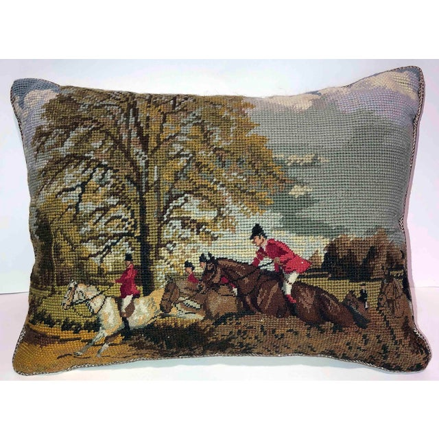 2010s The Hunt ~ Needlepoint Accent Pillow For Sale - Image 5 of 5