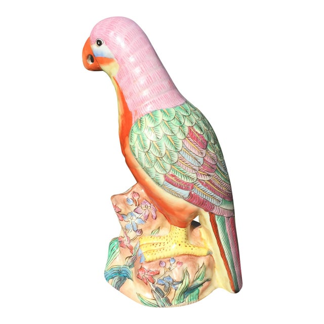 Vintage Hand Painted Porcelain Parrots - a Pair For Sale - Image 6 of 6
