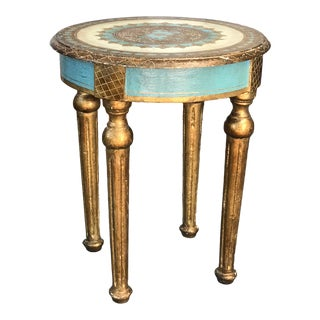 Florentine Aqua and Gold Boudoir Table For Sale