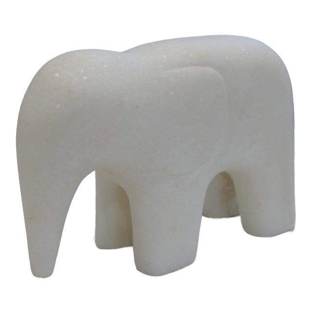 White Marble Elephant Contemporary Figurine For Sale