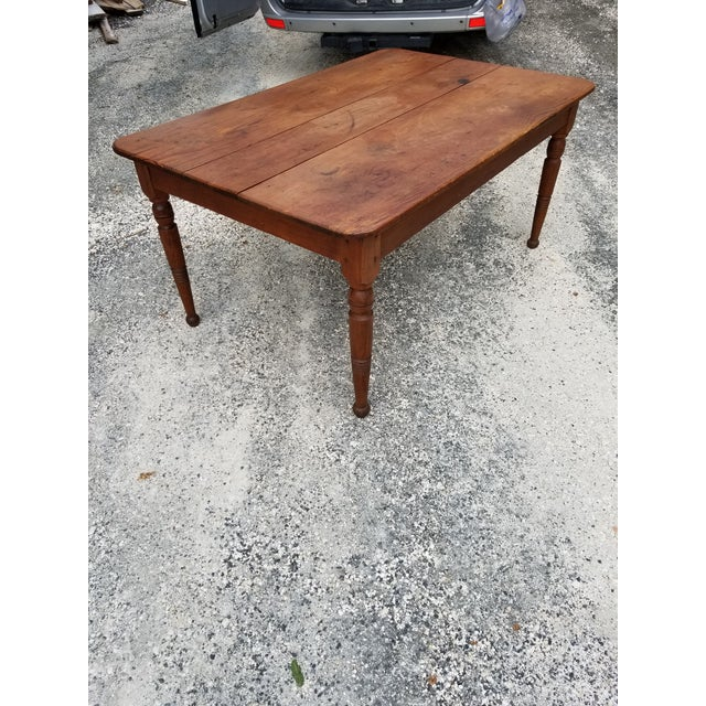 Antique Pine Farm Table For Sale - Image 4 of 12