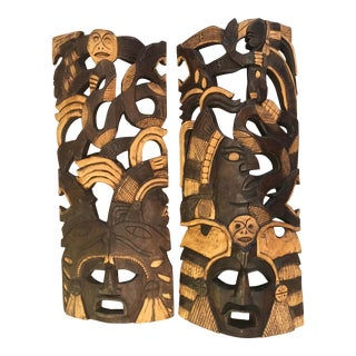 Vintage Tribal War Masks - a Pair For Sale