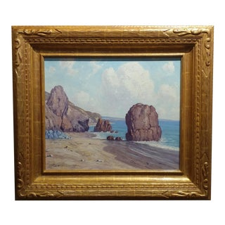 Charles L A Smith-EL Matador Beach,Malibu-Oil Painting -Impressionist c1920s
