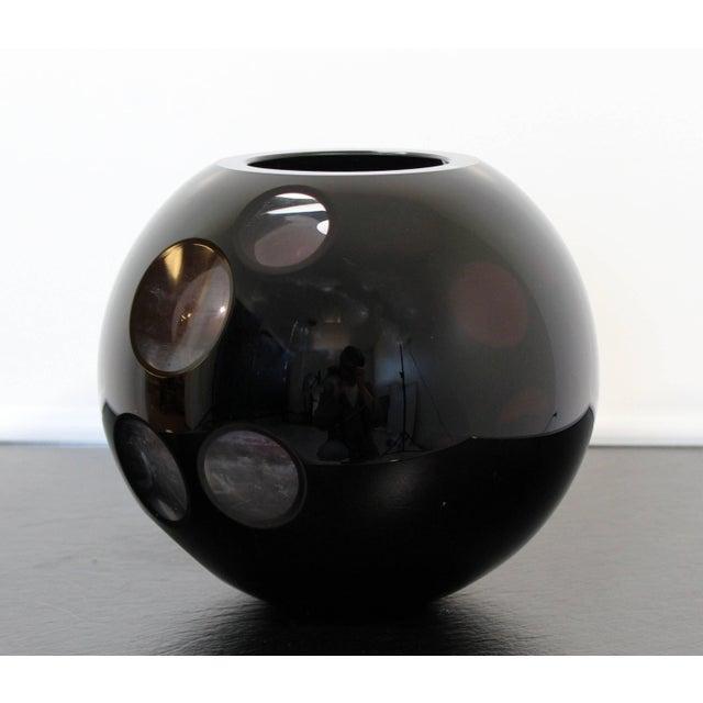 1980s Contemporary Cased Mazzega Murano Black Glass Vase For Sale In Detroit - Image 6 of 6