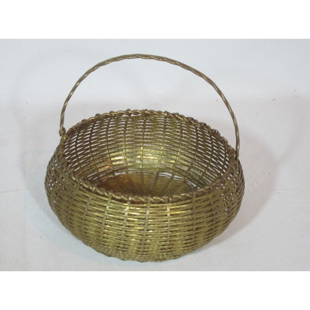 Metal Vintage Round Woven Brass Basket For Sale - Image 7 of 7