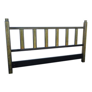 Hollywood Regency Acid Etched Brass King Size Headboard by Mastercraft For Sale