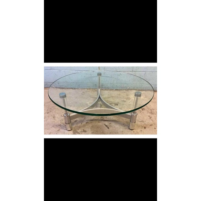 Modern Metal & Acrylic Tube Coffee Table For Sale - Image 5 of 6