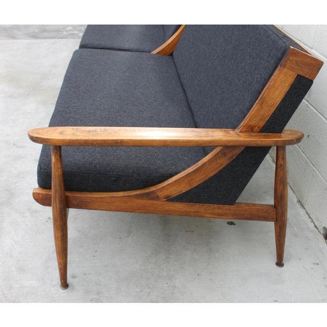 Walnut Danish Minimalist Spindle Back Sectional Sofa - Image 5 of 11