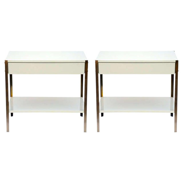 Pair of Minimalist Ivory Lacquer and Brass Nightstands-a Pair For Sale
