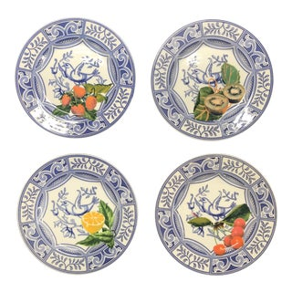 Blue Bird Salad Plates Made in Italy Blue/White With Fruit in Style of Gien Oiseau Bleu - Set of 4 For Sale