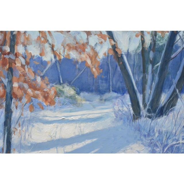 """Contemporary """"Snowy Path by the Beech Tree"""" Contemporary Acrylic Painting by Stephen Remick, Framed For Sale - Image 3 of 11"""