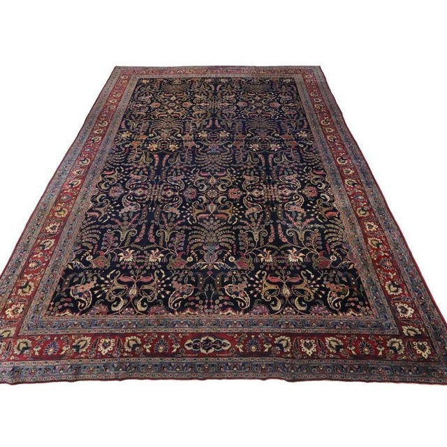 Antique Persian Mashhad Rug with Traditional Modern Style For Sale In Dallas - Image 6 of 9