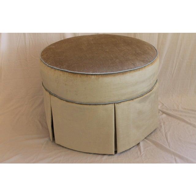 Metal Round Swivel Velvet Ottoman For Sale - Image 7 of 7