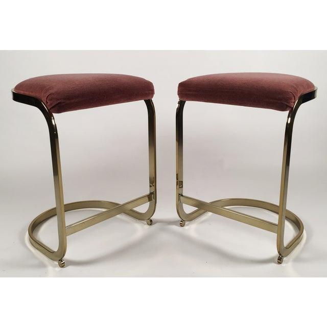 Milo Baughman Style Cantilever Bar Stools - A Pair For Sale - Image 4 of 7