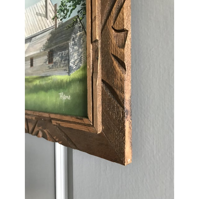 Mid 20th Century Vintage Mid-Century Schoolhouse Acrylic on Canvas Painting For Sale - Image 5 of 7