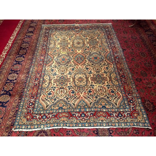 Antique Yazd Persian Carpet - 6′6″ × 9′7″ For Sale - Image 9 of 10