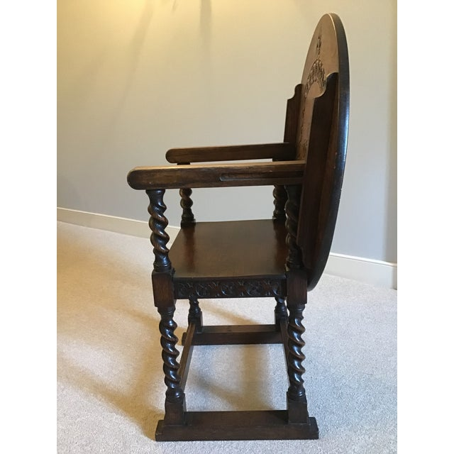 Wood Antique Monk's Chair/Side Table For Sale - Image 7 of 12
