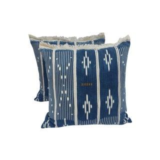 Indigo Ikat Fringe African Pillows - A Pair