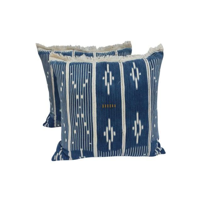 Indigo Ikat Fringe African Pillows - A Pair - Image 1 of 7