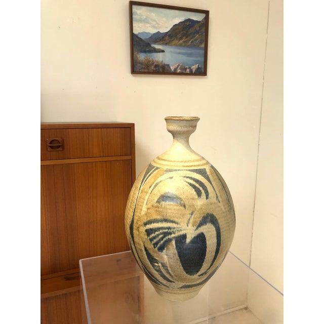 Beige Large Vintage Stoneware Vase by Wishon Harrell For Sale - Image 8 of 9