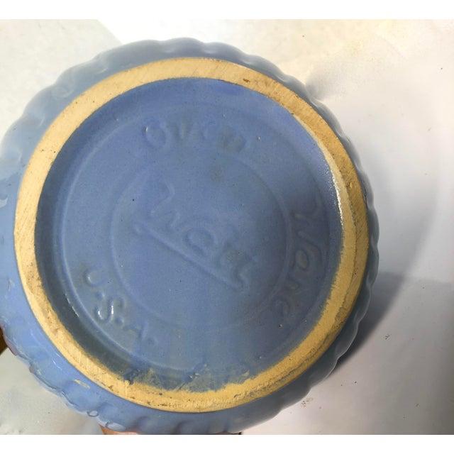"""Rare Vintage Watt Pottery Blue Squares Yellowware/Stoneware Covered Casserole Dish circa 1930's """"OVENWARE USA """" In..."""