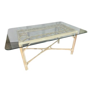 Rattan Glass Top Dining Table For Sale