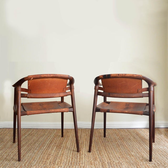 Mid-Century Modern Vintage Rolf Rastad & Adolf Relling for Gustav Bahus Leather Bambi Chairs- a Pair For Sale - Image 3 of 9