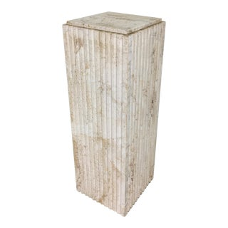 Exquisite Fluted Travertine Column For Sale