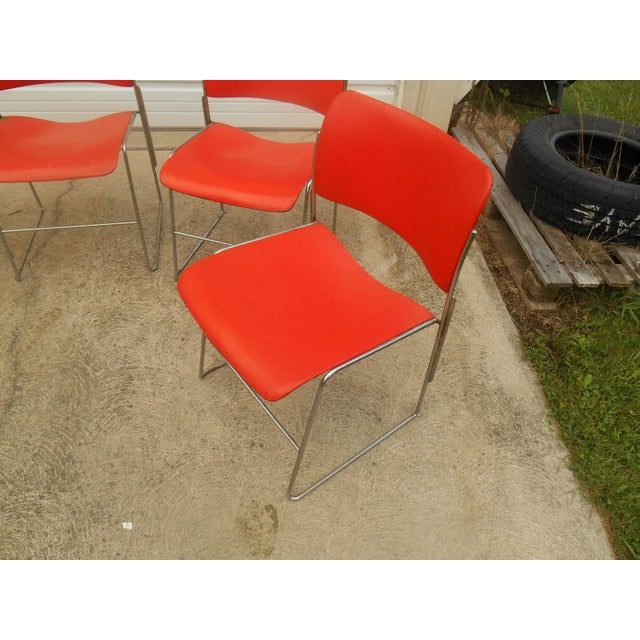 1970s GF Business Furniture 40/4 Orange Chairs - 5 For Sale - Image 4 of 5