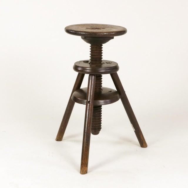 Oak 1870s English Oak Three Legged Adjustable Artist Stool For Sale - Image 7 of 12