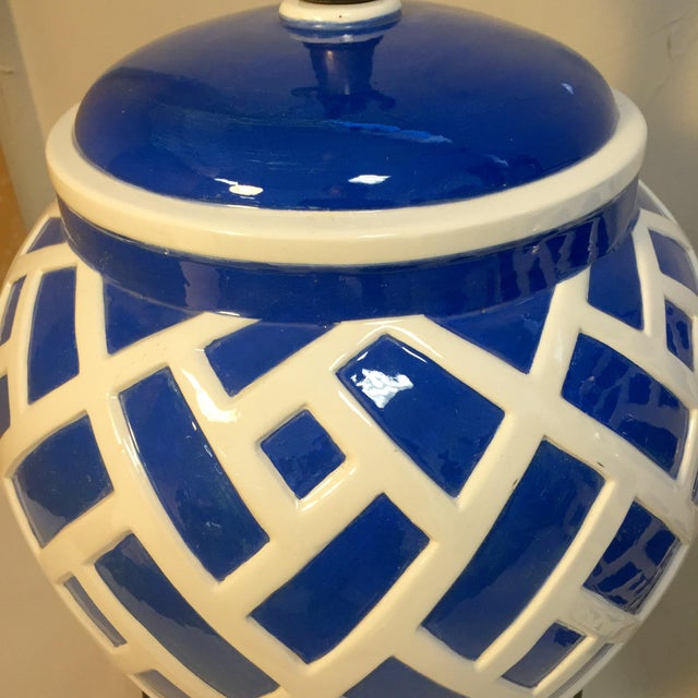 Frederick Cooper Blue & White Ginger Jar Lamps - A Pair For Sale - Image 5 of 8