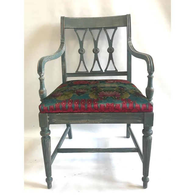 Early 20th Century Vintage Trestle Dining Table With Six Chairs and Upholstered Settee For Sale - Image 5 of 12