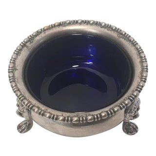 Silver Bowl With Cobalt Blue Glass Bowl Insert For Sale