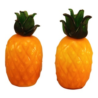 Pair of Vintage Glass Pineapples For Sale